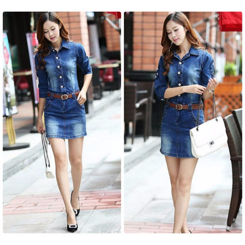 Đầm jean body tay lở thời trang