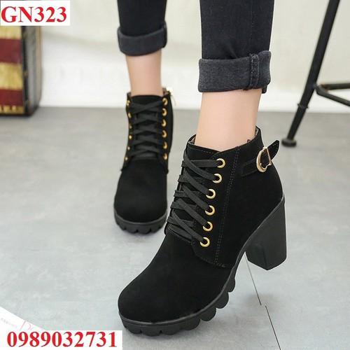 Giày Bốt Nữ Da Lộn Gót Vuông - GN323