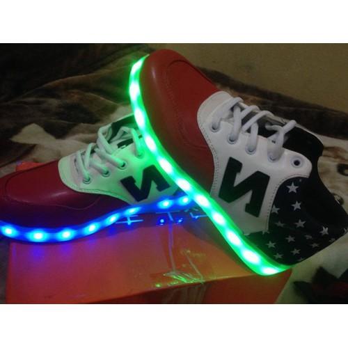 Giày phát sáng chữ N da bóng pha màu trắng đen đỏ - thời trang nam nữ