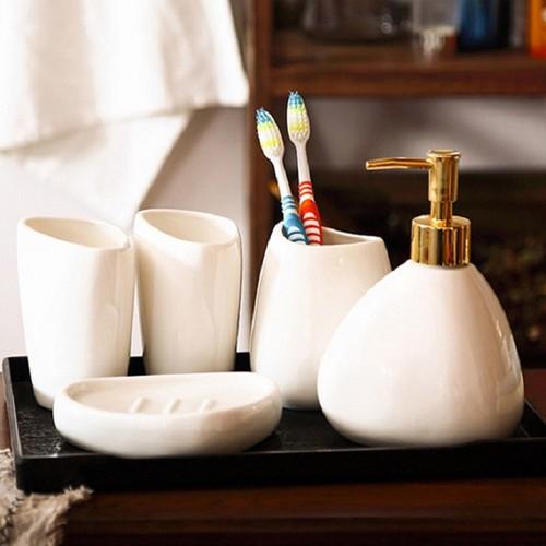 Bộ đồ dùng nhà tắm gốm sứ trắng 5 món