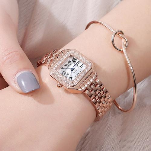 Đồng hồ nữ GEDI WATR Mặt Vuông Viền đính hạt - Tặng hộp & Pin