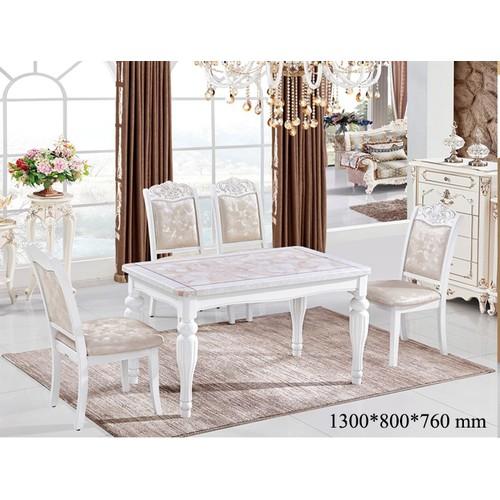 Bộ bàn ăn mặt đá màu trắng nhập khẩu HHP-BBA725-13 cao cấp