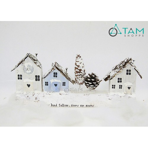 Mô hình nhà gỗ trang trí Noel phủ tuyết trắng số 29 dãy lớn