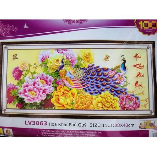 Tranh thêu chữ thập chim công hoa khai phú quý