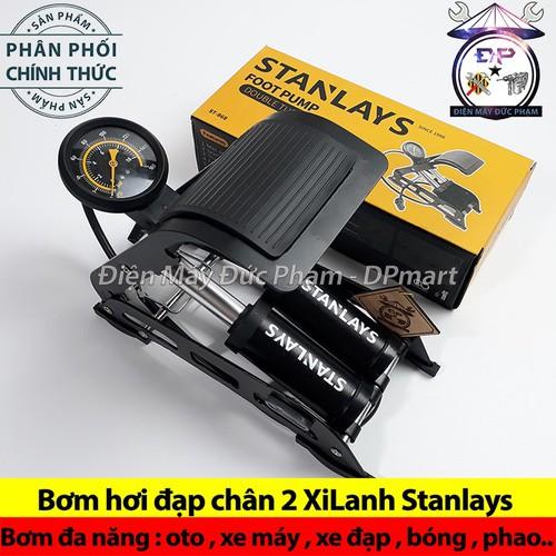 Bơm hơi đạp chân 2 XiLanh Stanlays - Bơm oto xe máy đa năng