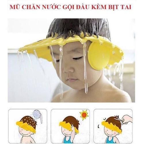 Mũ chặn nước gội đầu kèm bịt tai cho bé