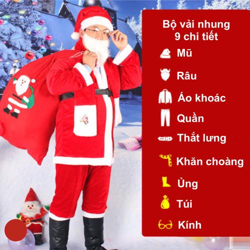 Bộ quần áo ông già Noel, trang phục noel vải nhung 9 chi tiết