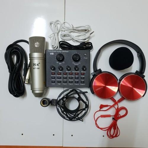 combo micro isk at-100 và sound card v8 tặng tai nghe kiểm âm x450