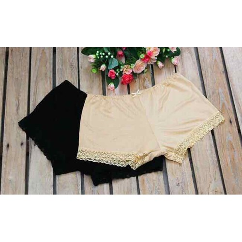 Quần lót đùi cotton mặc váy phối ren