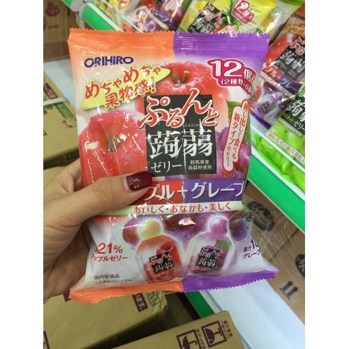 Thạch rau cây túi Orihiro vị táo và nho gói 12 túi