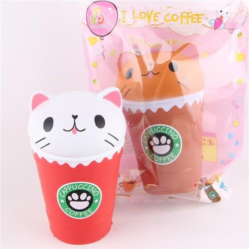 Squishy cốc coffee mặt mèo - màu ngẫu nhiên