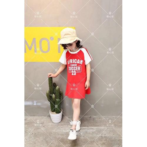 Váy thun cotton màu đỏ chữ cho bé từ 1-6 tuổi