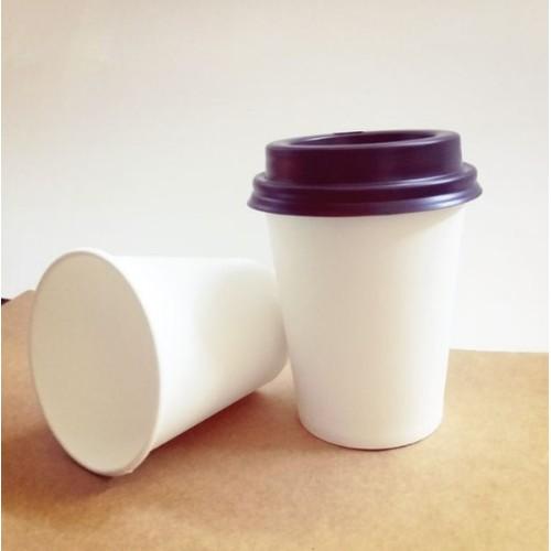 50 Ly giấy trắng kèm nắp đen 12oz – 330 ml