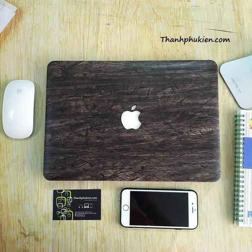 Ốp Macbook 13 Retina - Họa Tiết Vân Gỗ Đen
