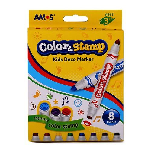 Bút dạ màu 2 đầu Amos Color. Stamp - Hộp 8 bút