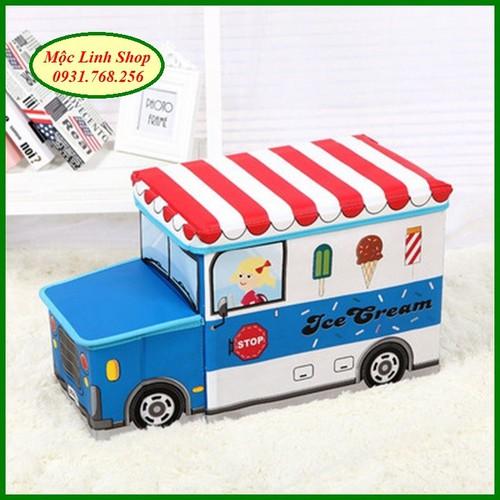 Thùng đựng đồ chơi hộp đựng đồ chơi kiêm ghế đầu xe
