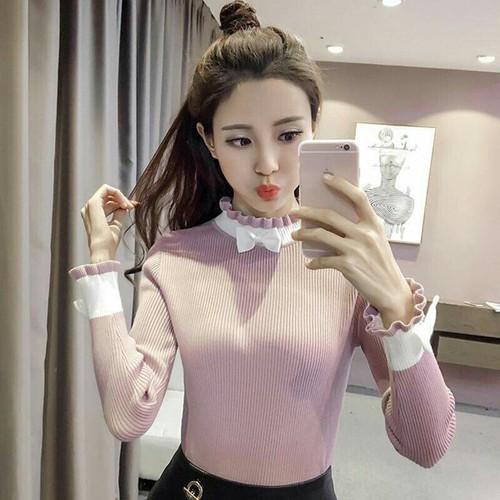 Áo len nữ thời trang phối cổ ren quyến rũ