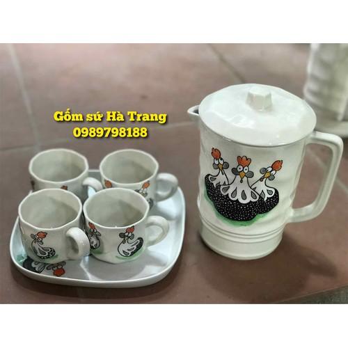 bộ bình nước gốm sứ Bát Tràng hàng xuất dư