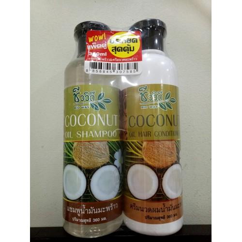 Bộ gội và xả Tinh dầu dừa Bio Way THÁI LAN