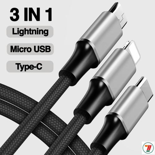 Cáp sạc đa năng 3 đầu 3 in 1 bagi gồm Type C, Lightning, Micro usb