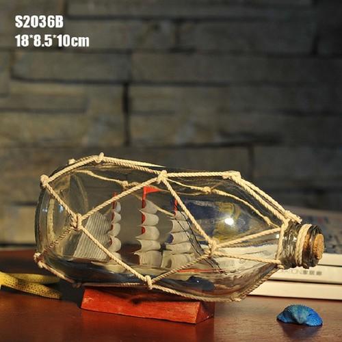 Mô hình thuyền trong chai lưới dây thừng-15cm