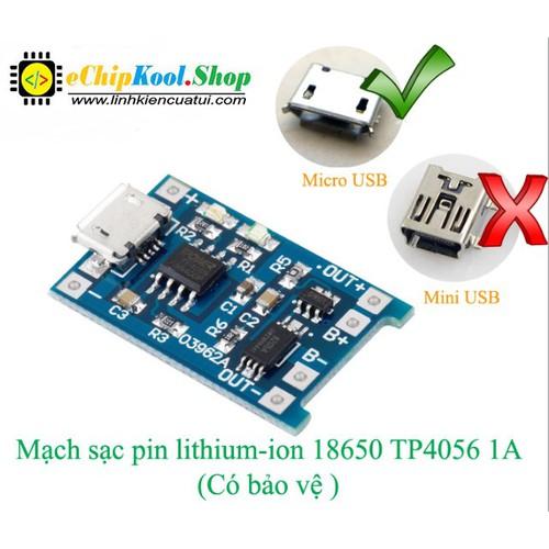 Mạch sạc pin lithium-ion 18650 TP4056 1A - Có bảo vệ V2 - 6153663 , 12702176 , 15_12702176 , 18000 , Mach-sac-pin-lithium-ion-18650-TP4056-1A-Co-bao-ve-V2-15_12702176 , sendo.vn , Mạch sạc pin lithium-ion 18650 TP4056 1A - Có bảo vệ V2