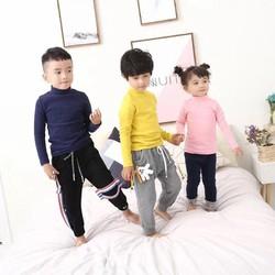 Áo cotton len dài tay xuất hàn cho bé cổ 3 phân