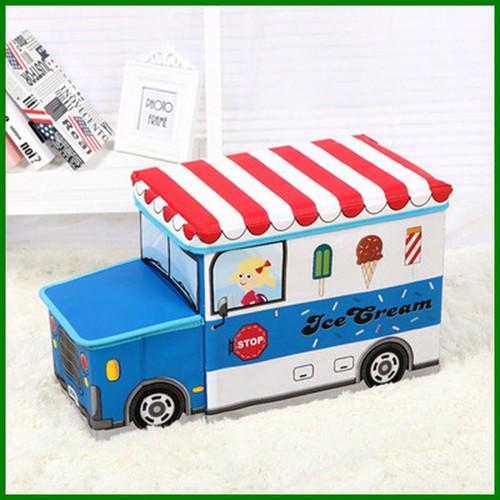 Thùng đựng đồ chơi- Hộp đựng đồ chơi kiêm ghế- Đầu xe