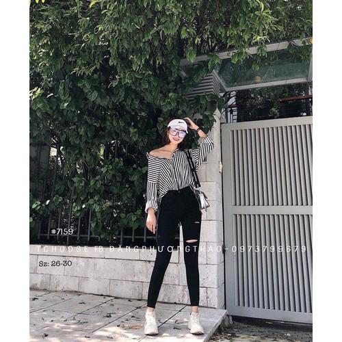 quần jean nữ màu đen rách một bên gối - 6173338 , 12725362 , 15_12725362 , 185000 , quan-jean-nu-mau-den-rach-mot-ben-goi-15_12725362 , sendo.vn , quần jean nữ màu đen rách một bên gối