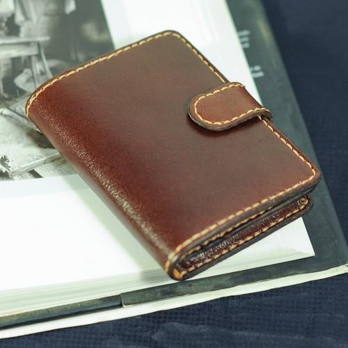 ví da bò đựng thẻ dạng hộp có nắp gập - Đồ da  Handmade VI309