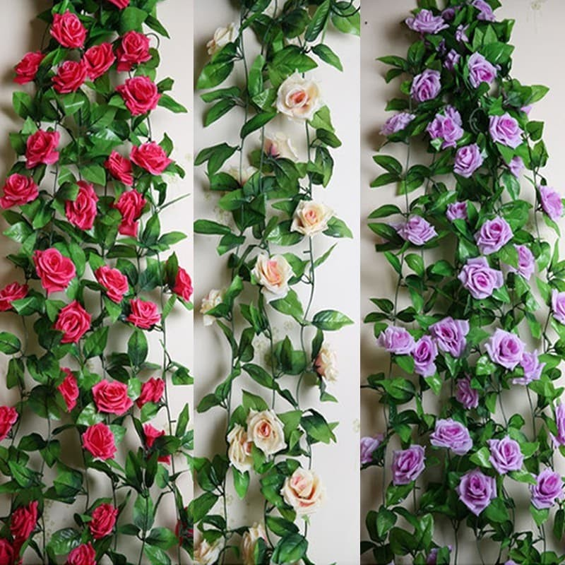 Set 5 dây Hoa hồng leo trang trí siêu đẹp dài 2.4m - hoa giả