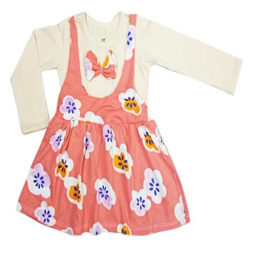 Đầm yếm thun cotton hình hoa cho bé 11-25kg