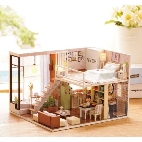 Mô hình nhà gỗ DIY Biệt thự thành phố 3 bao gồm che bụi