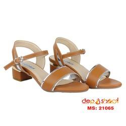 Giày sandal cao gót phối viền màu nâu gót vuông 5cm bigsize depvashock
