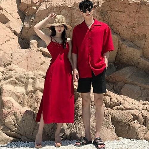 Set áo váy sơ mi cặp, đồ đôi thời trang nam nữ màu đỏ chụp cuới