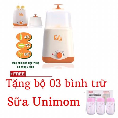 Máy hâm sữa tiệt trùng đôi - Tặng 3 bình trữ sữa