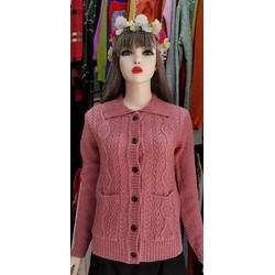 Áo khoác cardigan- len đan tay- cổ sen Nhật