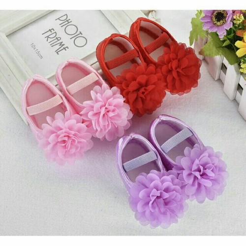 Giày tập đi đính hoa bé gái 3-8 tháng