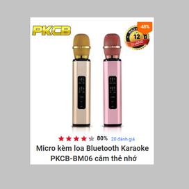 Micro kèm loa Bluetooth Karaoke nhập khẩu PKCB K6 cắm thẻ nhớ PF14 4