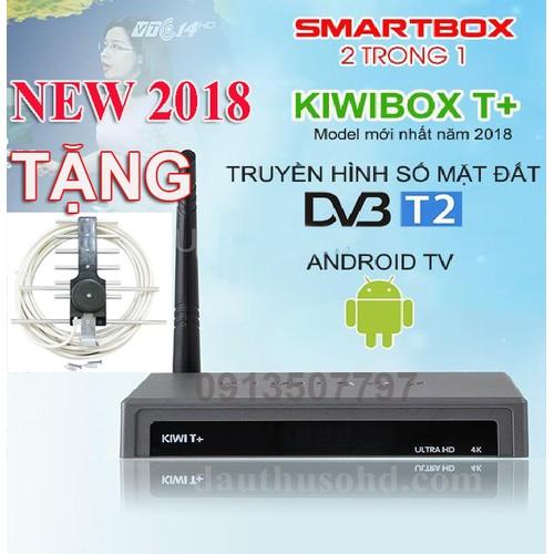Android tivi box kết hợp T2  kiwibox T+ 2 trong 1 tặng anten dây 15m