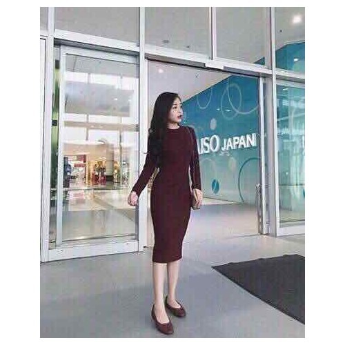 Đầm body len dài tay