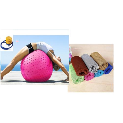 Bóng tập yoga  65 CM kèm Khăn lạnh thể thao