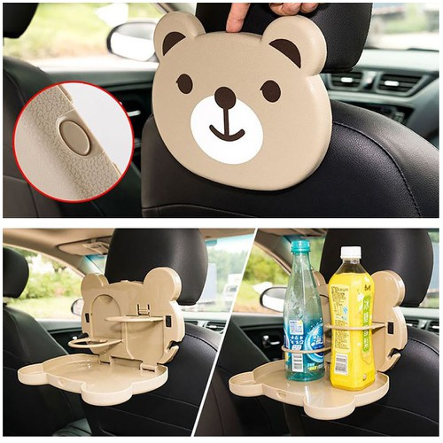 Khay đựng đồ ăn nước uống trên ô tô - Có đai cài sau ghế - dễ thương