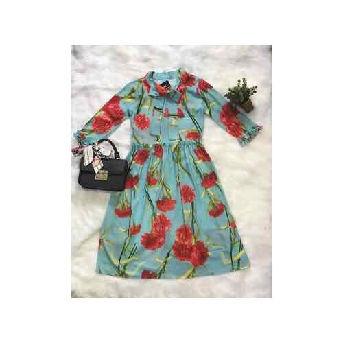 Đầm xèo họa tiết  hoa lá mùa hè tươi mát - SD024