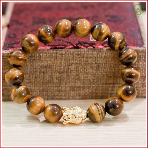 Vòng Phong Thủy- Vòng Phong Thủy Mắt Hổ Vàng Nâu Mặt Phật 12 mm V14-12