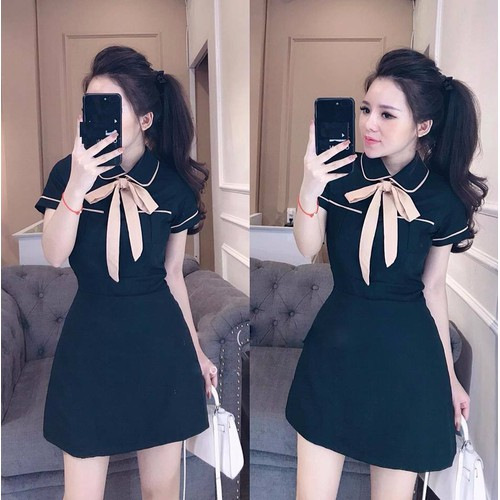 Đầm Cổ Sơ Mi Thắt Nơ Cao Cấp - 55AM93