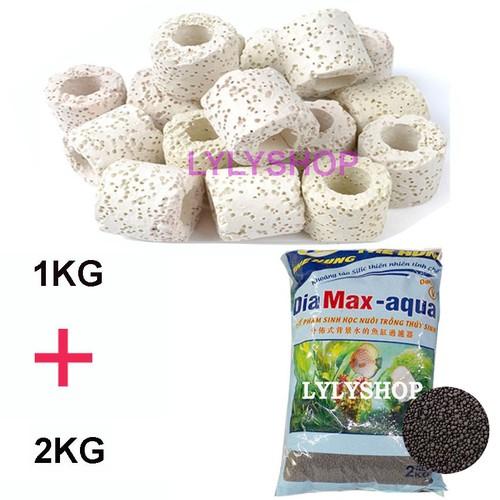 Sứ Lọc Bể Cá túi 1KG + Phân nền Dia MAX AQUA 2KG cho hồ thủy sinh