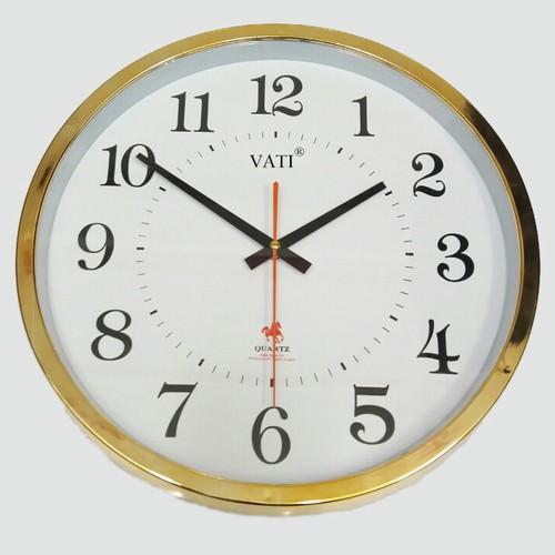 [Vati] Đồng hồ treo tường hình tròn viền ánh kim S75