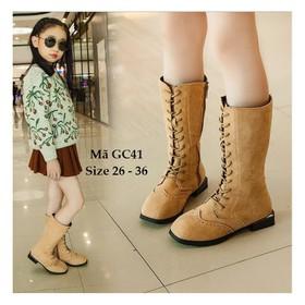 Giày bốt cho bé gái da lộn, buộc dây, giày bốt cho bé gái cao cổ GC41 - GC41KEM