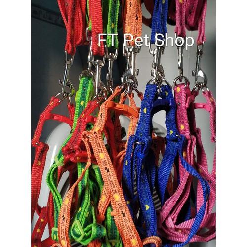 Dây Dắt Chó Đai Lưng Vải Dù Mềm May Kèm Vải  Ruy Băng Hoạ Tiết Cún Cưng 5-10kg